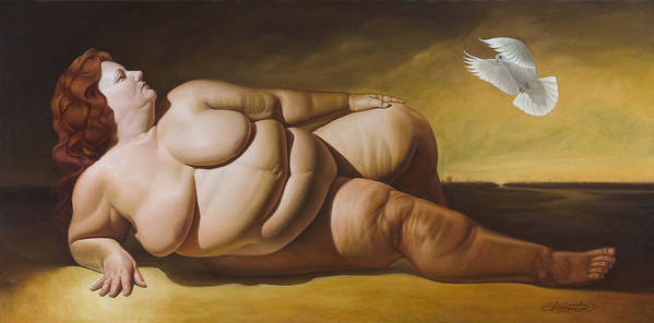 Reclining Nude With Dove Art Print featuring the painting Enlightenment by Gary Hernandez