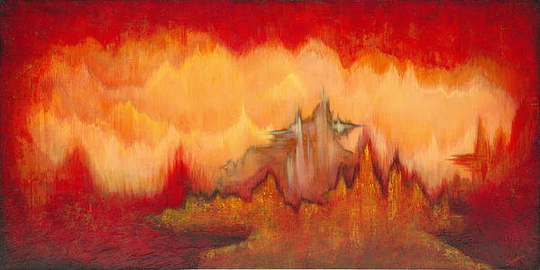 Red Art Print featuring the painting From the Valley by Shadia Derbyshire