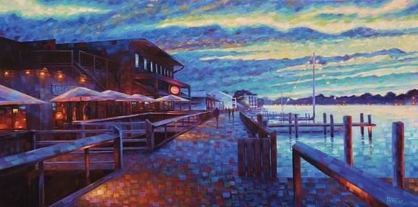 Georgetown South Carolina Coastal Harborwalk Big Tuna Landscape Seascape Charleston Art Print featuring the painting Georgetown Harborwalk by Rob Buntin