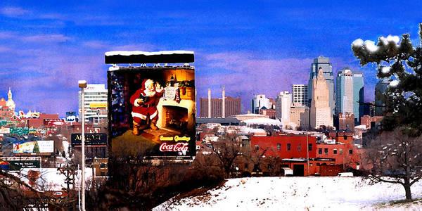 City Art Print featuring the photograph Kansas City Skyline at Christmas by Steve Karol