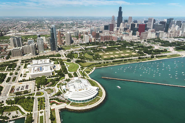 Downtown District Art Print featuring the photograph Aerial View Of The Downtown In Chicago by Franckreporter