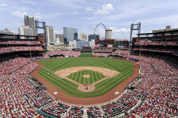 St. Louis Cardinals Art Print featuring the photograph Cincinnati Reds V. St. Louis Cardinals by Ron Vesely