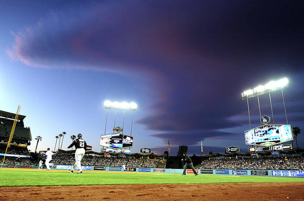 Ball Art Print featuring the photograph Colorado Rockies V Los Angeles Dodgers by Harry How
