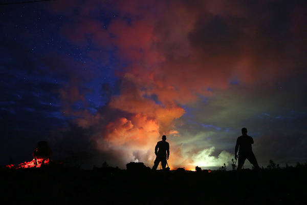 Working Art Print featuring the photograph Hawaiis Kilauea Volcano Erupts Forcing by Mario Tama