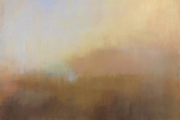 Landscape Art Print featuring the painting Misty View from Above by Jacquie Gouveia