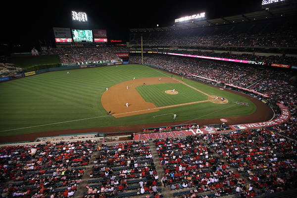 American League Baseball Art Print featuring the photograph Oakland Athletics V. Los Angeles Angels by Paul Spinelli