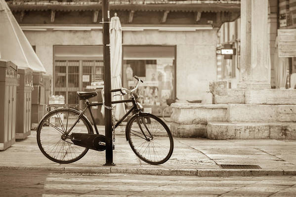 Residential District Art Print featuring the photograph Old Bicycle Parking by Deimagine