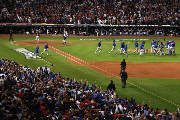 American League Baseball Art Print featuring the photograph World Series - Chicago Cubs V Cleveland by Ezra Shaw