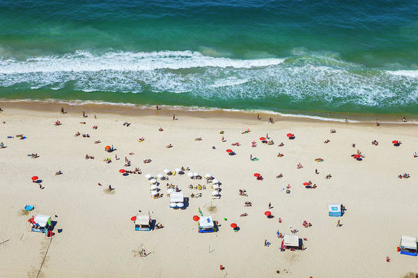 Water's Edge Art Print featuring the photograph Aereal View Of Copacabana Beach In Rio by Gonzalo Azumendi