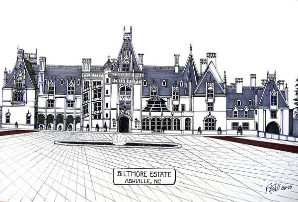 Ink Drawings Art Print featuring the drawing Biltmore Estate by Frederic Kohli