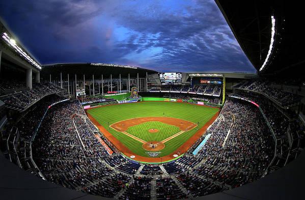 American League Baseball Art Print featuring the photograph Colorado Rockies V Miami Marlins by Mike Ehrmann