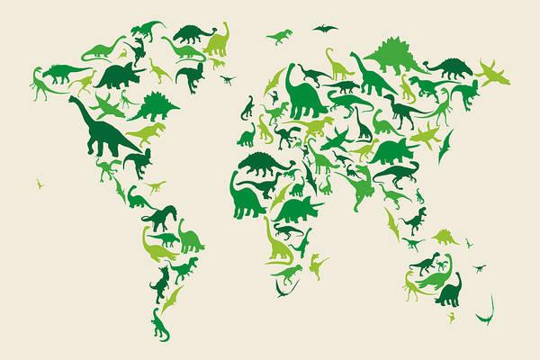World Map Art Print featuring the digital art Dinosaur Map of the World Map by Michael Tompsett