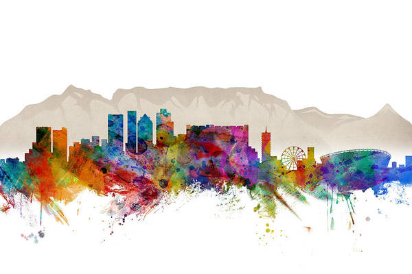 City Art Print featuring the digital art Cape Town South Africa Skyline by Michael Tompsett