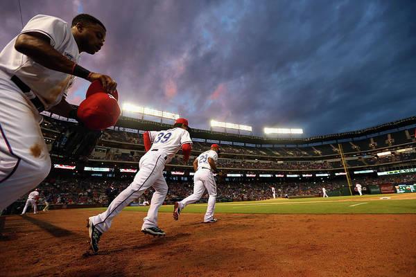 American League Baseball Art Print featuring the photograph Kansas City Royals V Texas Rangers by Ronald Martinez