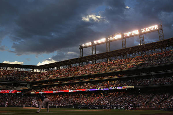 National League Baseball Art Print featuring the photograph Milwaukee Brewers V Colorado Rockies by Doug Pensinger