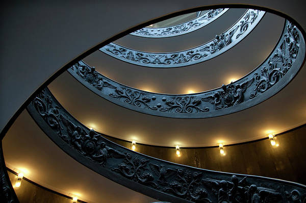 Italian Culture Art Print featuring the photograph Spiral Staircase At The Vatican by Mitch Diamond