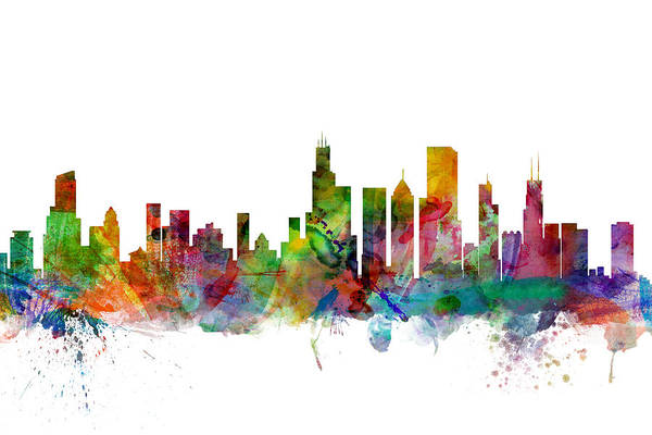 Chicago Art Print featuring the digital art Chicago Illinois Skyline by Michael Tompsett