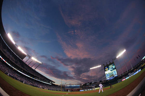 American League Baseball Art Print featuring the photograph Los Angeles Dodgers V Kansas City Royals by Ed Zurga