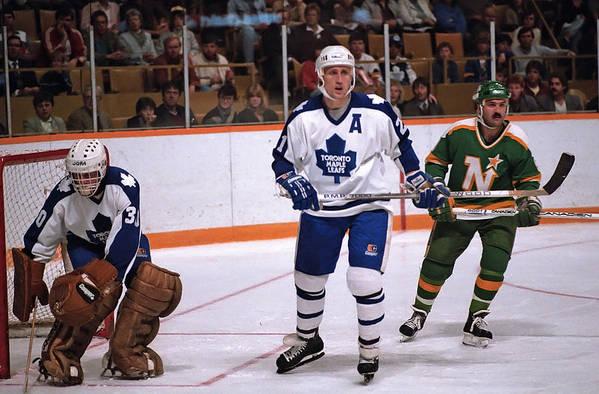 1980-1989 Art Print featuring the photograph Minnesota North Stars v Toronto Maple Leafs by Graig Abel