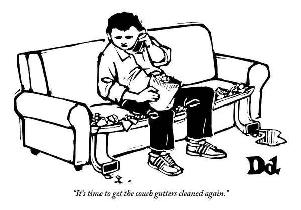 Couch Potato Art Print featuring the drawing A Man Talking The Phone by Drew Dernavich