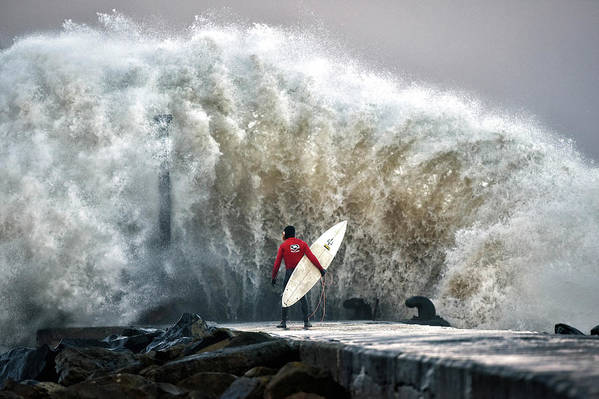 Professional Sport Art Print featuring the photograph A Pro-surfer Waits For A Break In The by Charles Mcquillan
