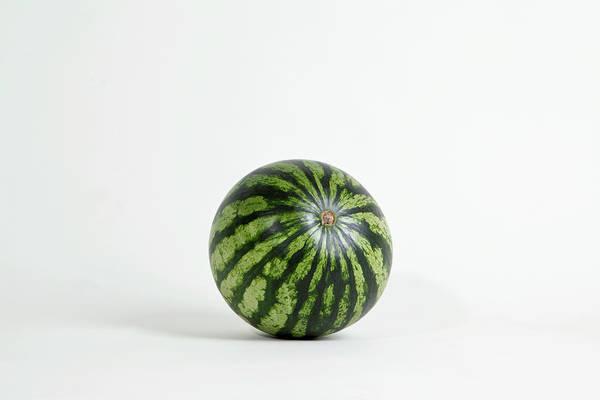 Shadow Art Print featuring the photograph A Whole Ripe Watermelon, Studio Shot by Halfdark