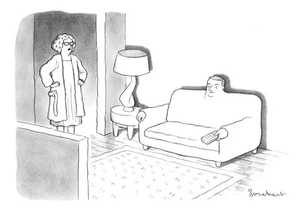 A Wife Stands In The Doorway Of The Living Room Where Her Husband Has Morphed Into A Couch. Furniture Art Print featuring the drawing A Wife Stands In The Doorway Of The Living Room by David Borchart