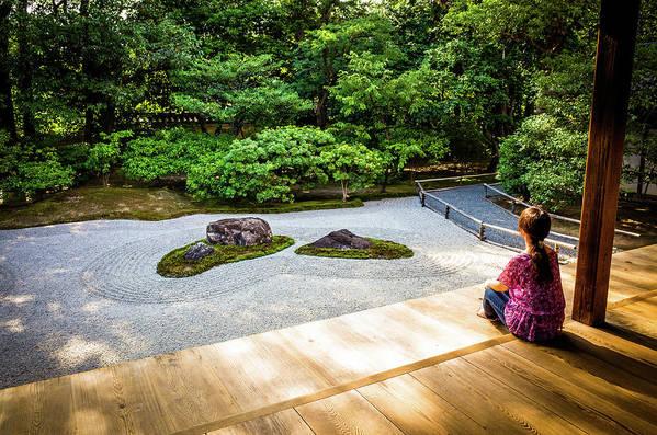 A Woman Sitting By The Zen Garden Art Print By Marser