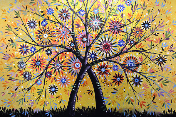 Nature Art Print featuring the painting Abstract Modern Flowers Garden Art ... Flowering Tree by Amy Giacomelli