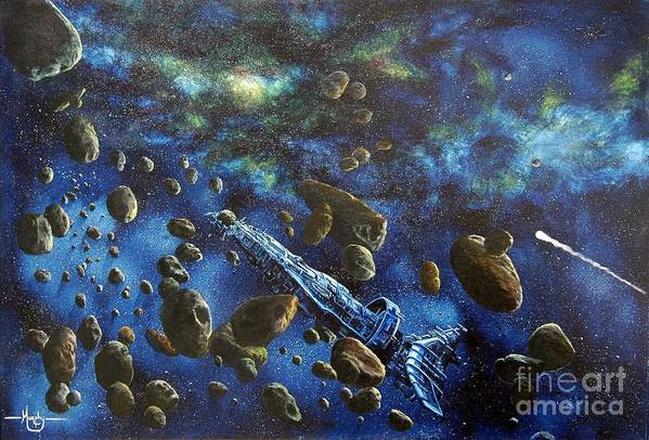 Canvas Art Print featuring the painting Accidental Asteroid by Murphy Elliott