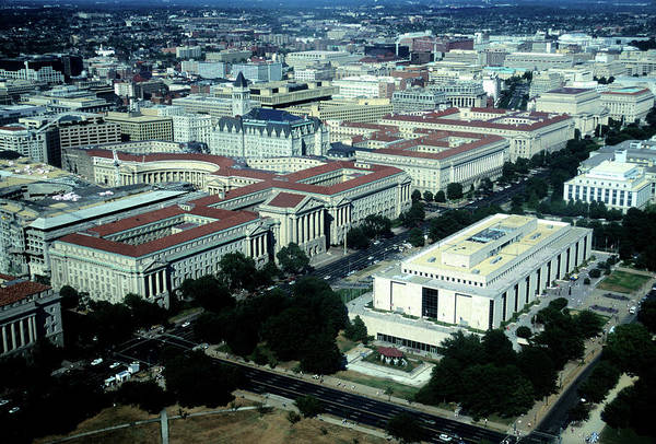 Downtown District Art Print featuring the photograph Aerial View Of Constitution Avenue by Hisham Ibrahim