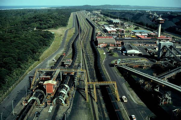 Freight Transportation Art Print featuring the photograph Aerial View Of Large Coal Export by Beyondimages