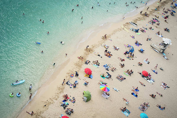 Honolulu Art Print featuring the photograph Aerial View Of Tourists On Beach by Alberto Guglielmi