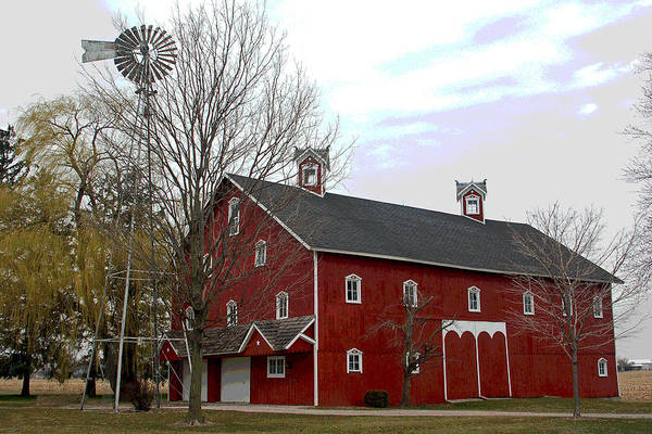 Amish Barn Art Print featuring the photograph Amish Barn and Wind Mill - Allen County Indiana by Suzanne Gaff
