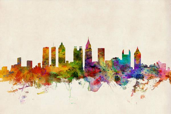 Watercolour Art Print featuring the digital art Atlanta Georgia Skyline by Michael Tompsett