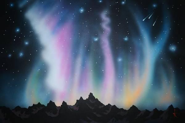 Aurora Borealis Art Print featuring the painting Aurora Borealis in the Rockies by Thomas Kolendra