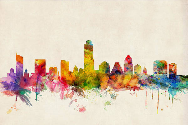 Watercolour Art Print featuring the digital art Austin Texas Skyline by Michael Tompsett