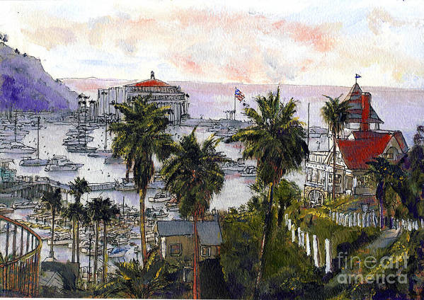 California Art Print featuring the painting Avalon Harbor Early Morning by Randy Sprout