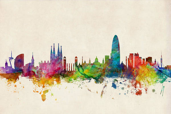 Barcelona Art Print featuring the digital art Barcelona Spain Skyline by Michael Tompsett