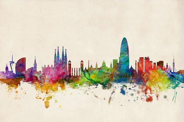Barcelona Art Print featuring the digital art Barcelona Spain Skyline by Michael Tompsett