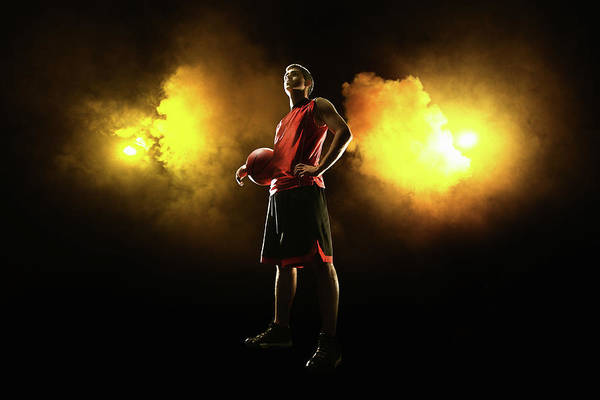 People Art Print featuring the photograph Basketball Player On Smoky Yellow by Stanislaw Pytel