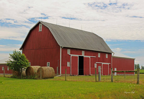 Barn Art Print featuring the photograph Big Red Barn II - Carroll County Indiana by Suzanne Gaff