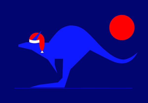 Blue Kangaroo Wishes You A Merry Christmas On Dark Blue Art Print featuring the digital art Blue Kangaroo wishes you a Merry Christmas on dark blue by Asbjorn Lonvig