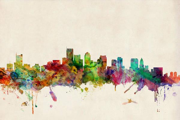 Watercolour Art Print featuring the digital art Boston Skyline by Michael Tompsett