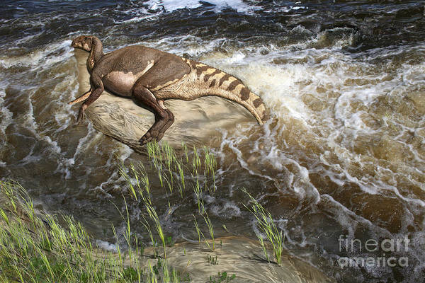 Dinosaur Digital Art Art Print featuring the digital art Brachylophosaurus canadensis corpse by Julius Csotonyi
