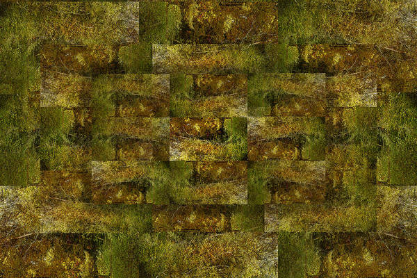 Digital Nature Weave Metal Abstract Bronze Tonal Art Print featuring the digital art Bronze Weave by Tom Romeo
