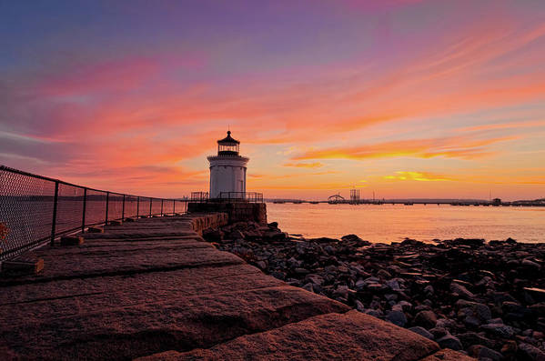 Built Structure Art Print featuring the photograph Bug Light Sunrise 1899 by Www.cfwphotography.com