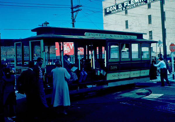 Cable Car Art Print featuring the photograph Cable Car 1955 by Cumberland Warden