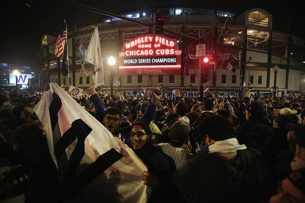 American League Baseball Art Print featuring the photograph Chicago Cubs Fans Gather To Watch Game by Scott Olson