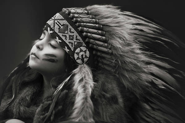 Native American Art Print featuring the photograph Chief Of Her Dreams by Carmit Rozenzvig